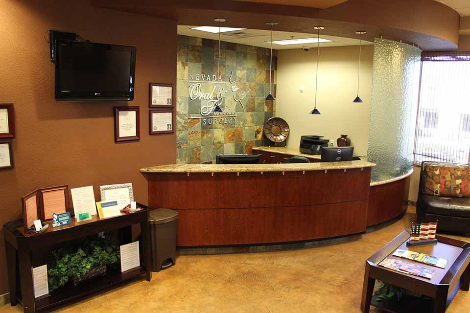 Reception area at Nevada Facial and Oral Surgery's Las Vegas office
